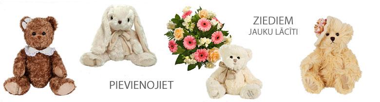 Ziedi un rotaļlietas