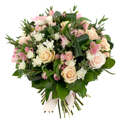 Flowers in Riga. Charming floral bouquet of soft pink alstroemerias, ivory roses, white spray roses and decorative foliage.