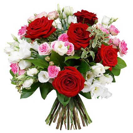 Flowers in Riga. Exquisite flower bouquet of red roses, pink roses and white lisianthus.