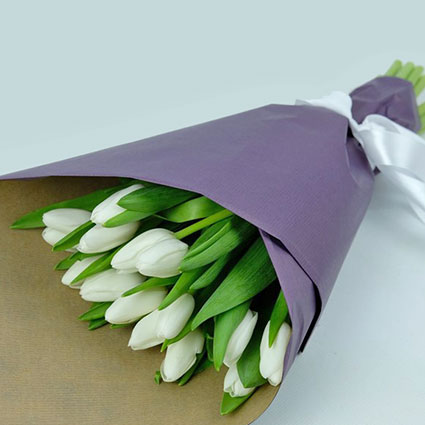 Spring bouquet of white tulips in decorative wrapping. ( 15 pcs )