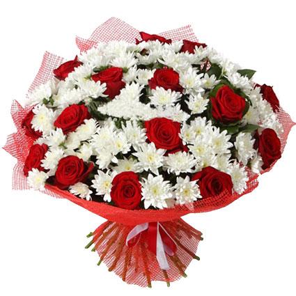 Ziedu piegāde. Sarkanas rozes baltu krizantēmu kupenā. Lielākajā pušķī 15 sarkanas vidēja garuma rozes un 26 baltas