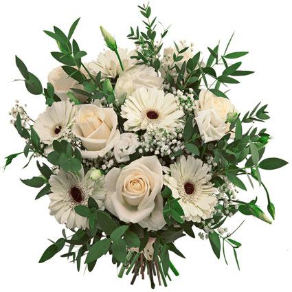 Ziedu piegāde Rīgā. Ziedu pušķis gaišos toņos no baltām rozēm, kremkrāsas gerberām, baltām lizantēm un dekoratīviem