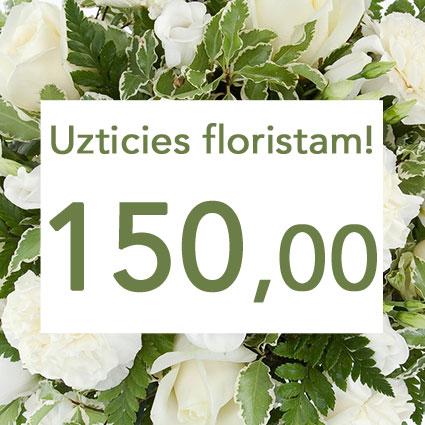 Ziedu piegāde Latvijā. Uzticies floristam! Izveidosim skaistu pušķi baltos toņos izvēlētās summas ietvaros. Pārsteigums un