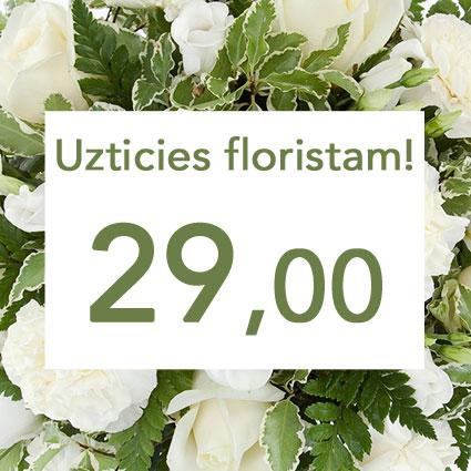 Ziedi un to piegāde. Uzticies floristam! Izveidosim skaistu pušķi baltos toņos izvēlētās summas ietvaros. Pārsteigums un