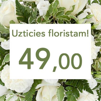 Ziedu veikals. Uzticies floristam! Izveidosim skaistu pušķi baltos toņos izvēlētās summas ietvaros. Pārsteigums un prieks