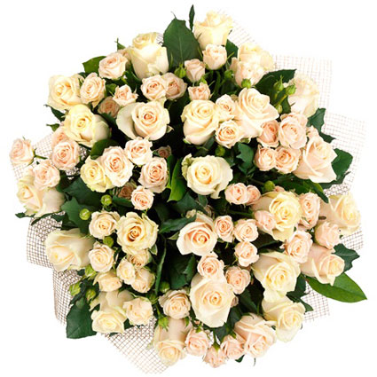 Ziedi Rīga. Elegants un grezns krēmkrāsas rožu pušķis.  Ziedu klāsts ir ļoti plašs. Var gadīties, ka izvēlētie ziedi var
