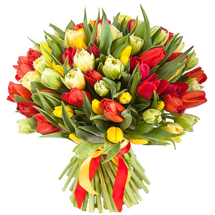 Flowers on-line. Bouquet of 51 or 31 red, yellow and white tulips.