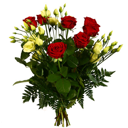 Ziedi: Sarkanas rozes un baltas lizantes