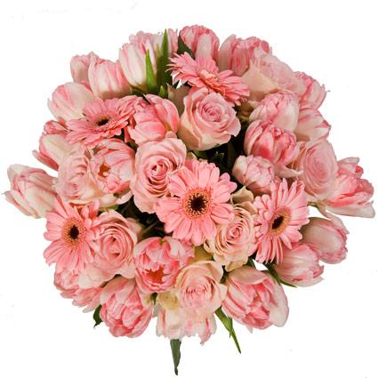 Ziedi Rīga. Pušķī rozā rozes, rozā tulpes un rozā gerberas.  Ziedu klāsts ir ļoti plašs. Var gadīties, ka izvēlētie ziedi