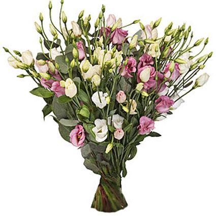 Ziedu piegāde Rīgā. Ziedu pušķis no 15 rozā un baltām lizantēm.   Ziedu klāsts ir ļoti plašs. Var gadīties, ka izvēlētie