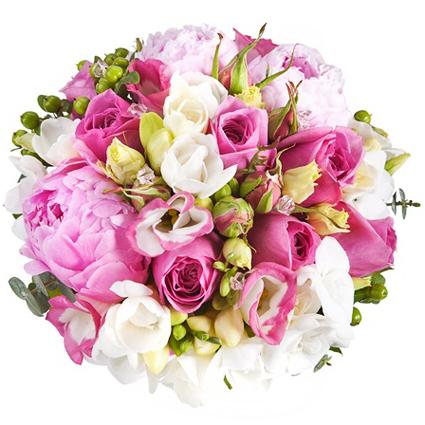 Ziedu veikals. Grezns rozā ziedu pušķis. Sastāvs: rozā peonijas, rozā rozes, baltas frēzijas, rozā lizantes, rozā krūmrozes