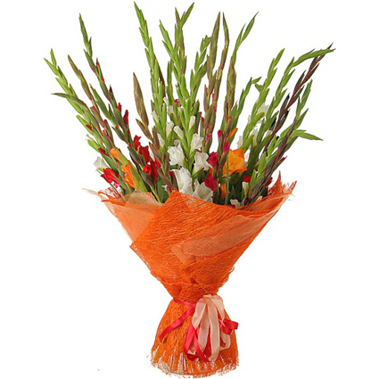Flower delivery Riga. 17 multicolored gladiolus in bright, rich summer bouquet.