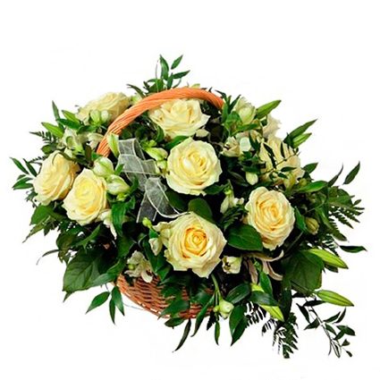 Baltu ziedu kompozīcija