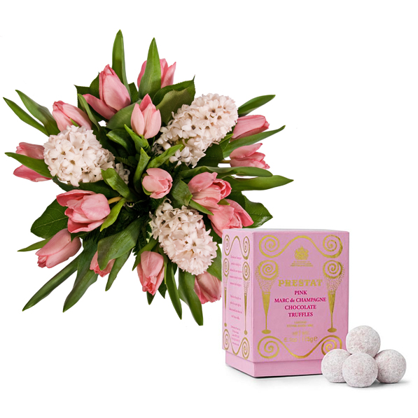 Spring bouquet and delicious chocolate truffles