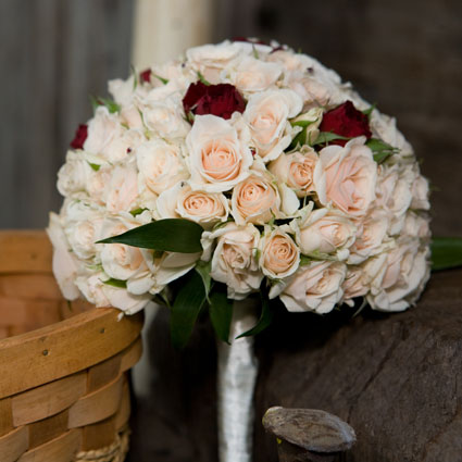 Flowers. Sophisticated bridal bouquet made of delicate spray roses.  A wedding is a special event and each bridal bouquet
