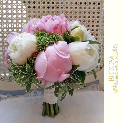 Flowers on-line. Bridal bouquet of white and pink peonies.  A wedding is a special event and each bridal bouquet is an