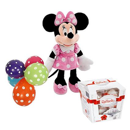 Ziedu veikals. Disney mīkstā rotaļlieta Minnija ( 25 cm ) ar pieciem krāsainiem baloniem un Raffaello konfektes 150 g.