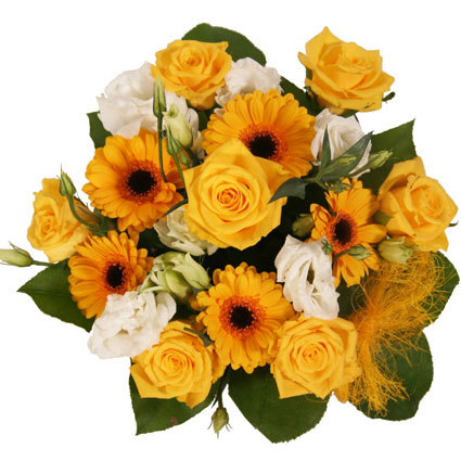 Flower delivery Riga. A playful bouquet of yellow roses, yellow gerberas, white lisianthus and foliage.