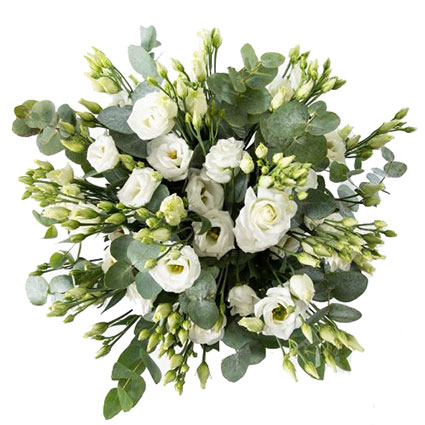 Ziedu pušķī 15 baltas lizantes un dekoratīvi eikalipta zaļumi. Ziedu piegāde Rīgā.