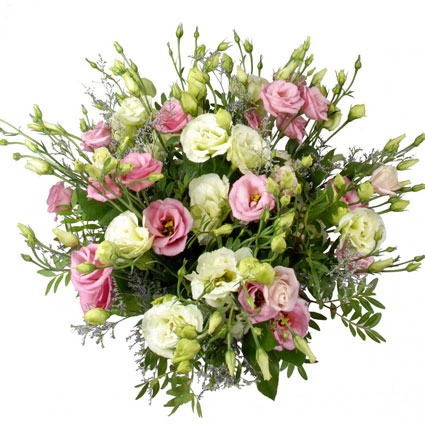 Flower delivery. Romantic bouquet of pink and white lisianthus with decorative foliage.