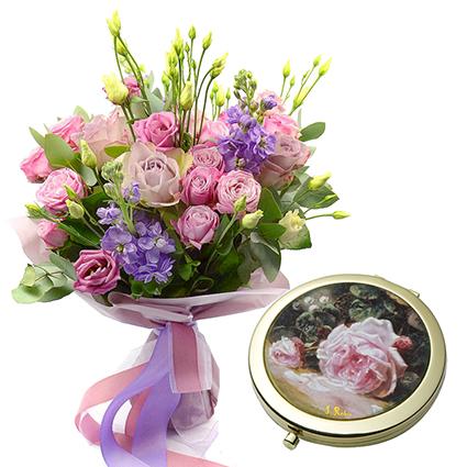 Ziedu pušķis un spogulītis
