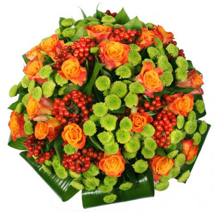 Flower delivery Latvia. Bouquet of orange roses, green chrysanthemums, red decorative berries and decorative foliage.