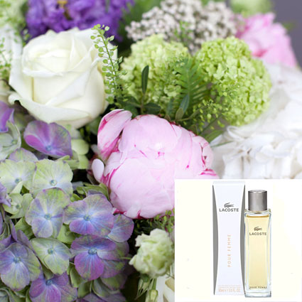 Bouquet Of Summer Flowers  And Perfume LACOSTE Pour Femme EDP 90 ml