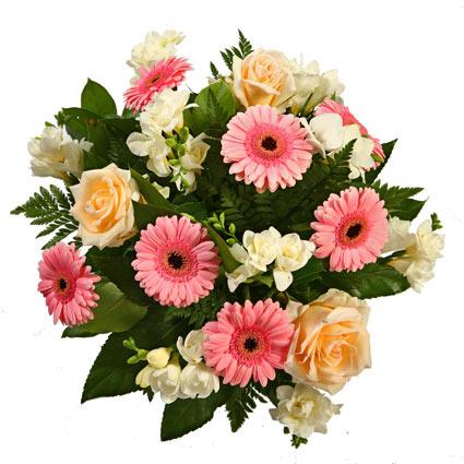 Ziedu piegāde Rīgā. Uzmundrinoši rozā gerberas, dzirkstoši baltas frēzijas, omulīgi krēmīgas rozes pozitīvā ziedu pušķī.