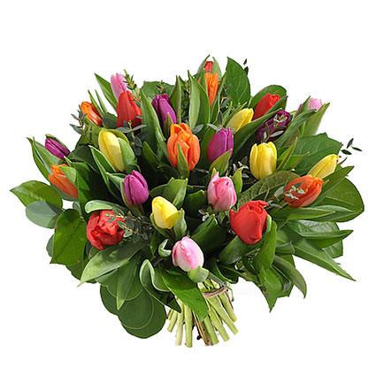 Ziedu piegāde Latvijā. Krāsainajā ziedu pušķī 25 rozā, dzeltenas, sarkanas, violetas un oranžas tulpes ar atsvaidzinošiem