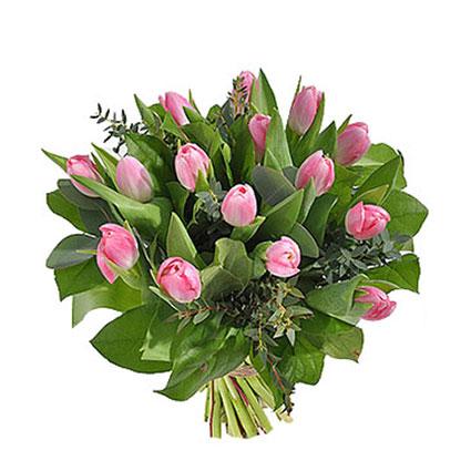 """15 rozā tulpes un """"AL MARI ANNI"""" zefīrs ar dzērveņu garšu 160 g."""