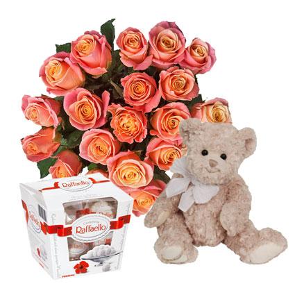 Dāvanu komplekts: 19 vidēja garuma rozes, jauks rotaļlācītis ar lentu (40 cm) un Raffaello konfektes (150 g).