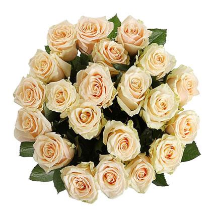 Kremkrāsas rožu pušķis - 21 vidēja garuma roze, ziedu piegāde