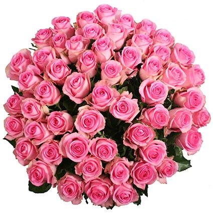Ziedi. Pušķī 55 rozā rozes. Rožu garums 60 cm.  Ziedu klāsts ir ļoti plašs. Var gadīties, ka izvēlētie ziedi var nebūt