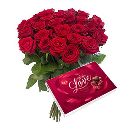 """15 vai 25 sarkanas rozes un """"AL MARI ANNI"""" dražeju asorti šokolādē (ķirbis, ingvers, upenes, ērkšķogas, āboli kanēlī, dzērvenes,"""