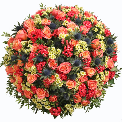 Ziedi un to piegāde. Ziedu piegāde Rīgā. Attēlā redzams lielākais pušķis.  Ziedu klāsts ir ļoti plašs. Var gadīties, ka