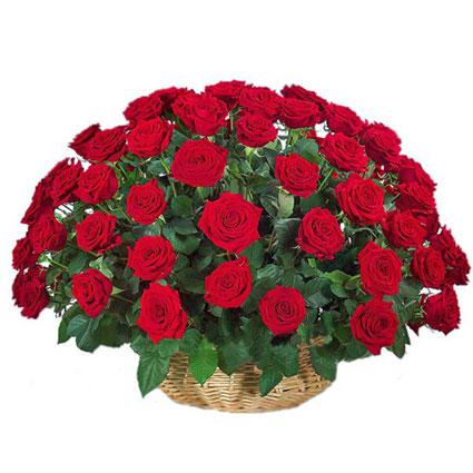 Ziedu piegāde. Kompozīcija pītā grozā no 49 sarkanām rozēm.  Ziedu klāsts ir ļoti plašs. Var gadīties, ka izvēlētie ziedi