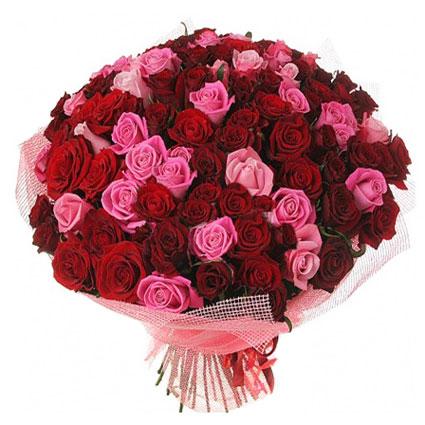 Ziedu piegāde Rīgā. Premium klases rožu pušķī 101 sarkana un rozā roze.   Ziedu klāsts ir ļoti plašs. Var gadīties, ka