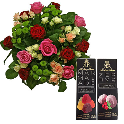 Bouquet of roses and a set of sweets