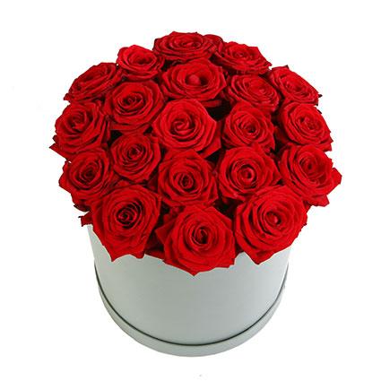 Ziedi Latvijā. Sarkanu rožu kompozīcija dāvanu kārbā. Ziedu kompozīcijā 21 sarkana roze.