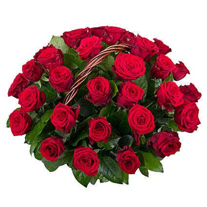 Ziedu piegāde. Ziedu kompozīcija grozā no 35 sarkanām rozēm. Rožu garums 60 cm.  Ziedu klāsts ir ļoti plašs. Var gadīties,