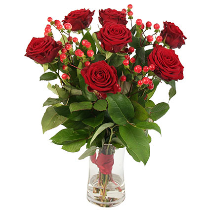 Ziedi un to piegāde. Pušķī 7 sarkanas vidēja garuma rozes un dekoratīvas sarkanas ogas.  Ziedu klāsts ir ļoti plašs. Var