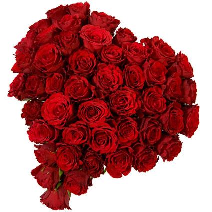Ziedu piegāde Latvijā. Ziedu pušķis sirds formā no 33 vai 55 sarkanām rozēm.  Ziedu klāsts ir ļoti plašs. Var gadīties, ka