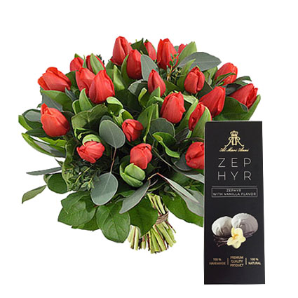 """Bouquet of 21 red tulips and """"AL MARI ANNI""""  Zephir with vanilla flavor 160 g."""