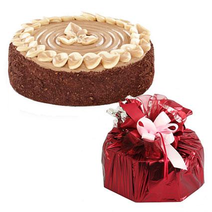 Ziedi Latvijā. Torte Roko 750 g dāvanu iesaiņojumā (Staburadze). Tumšā un gaišā biskvīta torte ar šokolādes,
