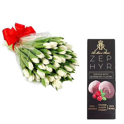 """25 white tulips and """"AL MARI ANNI""""  zephir with cranberry flavor 160 g."""