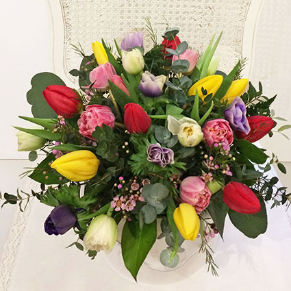 Tulips In Flower Box
