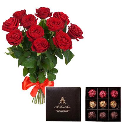 """Pušķis no 11 sarkanām rozēm un """"AL MARI ANNI"""" šokolādes trifeles 135 g (aveņu, karameļu, pistāciju)"""