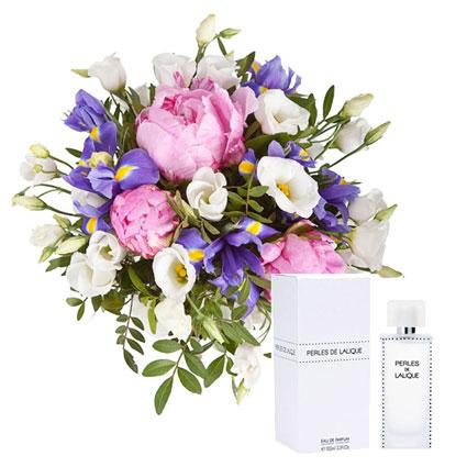 Утонченный букет из летних цветов и духи LALIQUE Perles de Lalique EDP 100 мл