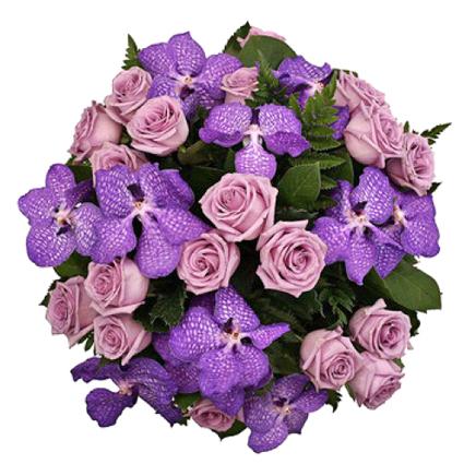 Ziedu veikals. Greznajā pušķī zili orhideju ziedi un violetas rozes.  Ziedu klāsts ir ļoti plašs.