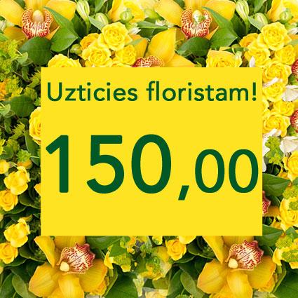 Ziedi ar kurjeru. Uzticies floristam! Izveidosim skaistu pušķi dzeltenos toņos izvēlētās summas ietvaros. Pārsteigums un